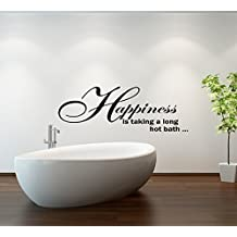 (Large) Happiness Bath Quote Bathroom Vinyl Wall Art Decal Sticker 14 Colours Available
