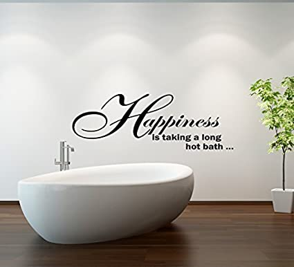 Lovely (Large) Happiness Bath Quote Bathroom Vinyl Wall Art Decal Sticker 14  Colours Available