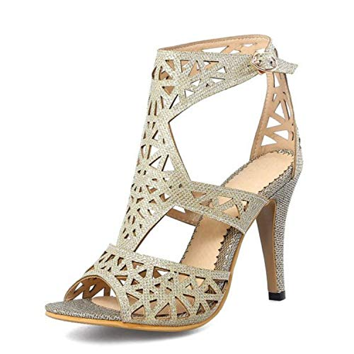 - Alex Kuts Women High Heel Sandals Buckle Open Toe Spike Heels Gladiator Mature Sandals Wedding Shoes,Silver,9.5