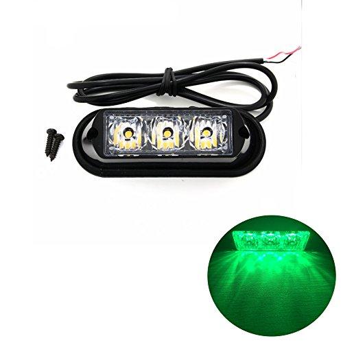 TASWK 3-LED Bulb Warning Strobe Lights for Trucks Cars Motorcycle Daytime Running Lights Emergency Grill Lights (Green) (Motorcycle Emergency Lights)