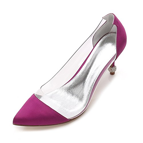 L@YC Womens Wedding K17767-38 Ladies Mid Low Heel Ankle Strap Bridal Party Prom Sandals Shoes Size Purple