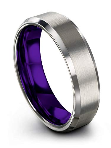 Chroma Color Collection Tungsten Carbide Wedding Band Ring 6mm for Men Women Purple Interior with Grey Exterior Bevel Edge Brushed Polished Comfort Fit Anniversary Size 11 Collection Satin Wedding Ring