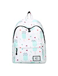 """Artone Ice Cream Water Resistant Big Capacity Backpack Padded School Daypack With Laptop Compartment Fit 15"""" Notebook White"""