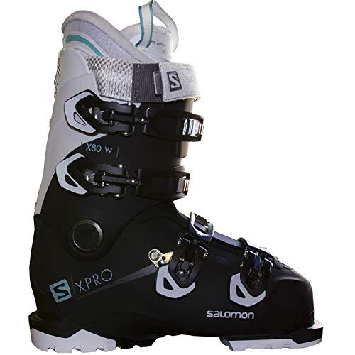 Salomon X-Pro X80 W CS Womens Ski Boots 2019-25.5/Black-White-Aruba Blue (Best Ski Boots For Advanced Intermediate Skiers)