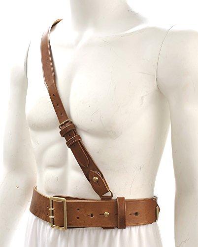 "World War Supply Sam Browne Belt with Shoulder Strap Brown Leather WW1 42""- 45"""