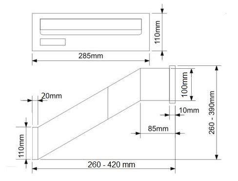una parete lamiera dacciaio zincata Cassetta postale a incasso: Da installare in una parete mm verniciata a polvere bronzo antico profondit/à variabile 260-420