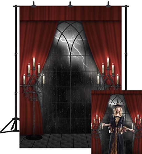 DePhoto 6X9FT(180X270CM) Halloween Party Theme Wooden Floor Red Curtain Lightning Night Backdrop Customized Seamless Vinyl Photography Photo Background Studio Prop PGT261B -