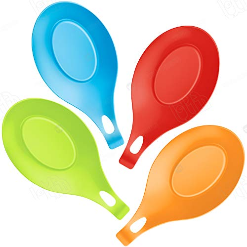 HoShip Silicone spoon rest Kitchen Silicone Spoon Holders set of 4 (Colorful)