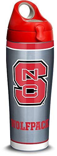 (Tervis 1315971 NC State Wolfpack Tradition Stainless Steel Insulated Tumbler with Lid, 24oz Water Bottle, Silver)