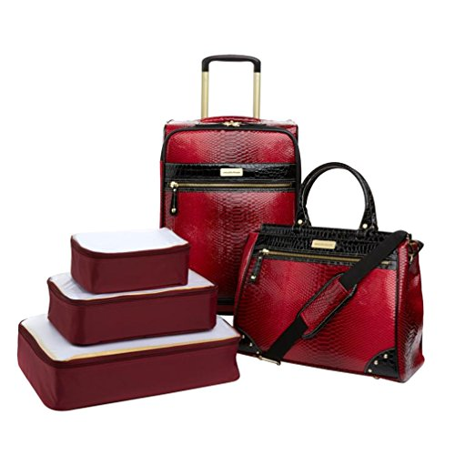 Samantha Brown Embossed Ombre 5-Piece Luggage Set - Burgundy