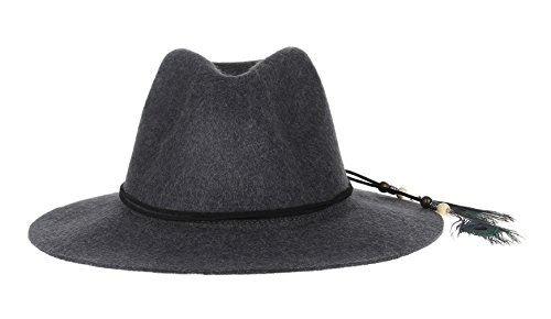 La Vogue Women's Vintage Wool Hat Wide Brim Fedora Hat With Feather C2