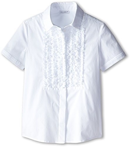 Dolce & Gabbana Kids Girl's Ruffled S/S Button Up (Big Kids) White/Black 8 (Big Kids) by Dolce & Gabbana