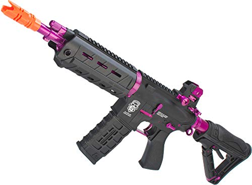 Evike G&G GR4 G26 Airsoft Electric Blowback AEG Rifle - Black/Pink (Package: Add 9.6 Butterfly Battery + Smart Charger) (G&g Blowback Gr4 G26 Airsoft Aeg Rifle)