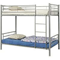 Coaster Modern Contemporary Metal Bunk Bed, Silver, Twin