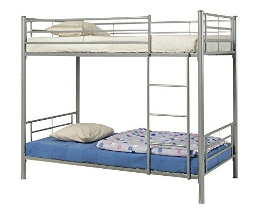 Coaster Modern Contemporary Metal Bunk Bed, Silver, Twin