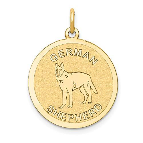Mireval 14k Yellow Gold German Shepherd Disc Charm (20 x 26 -