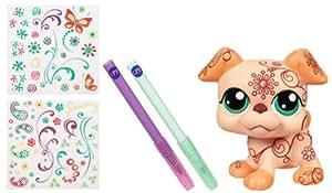 Hasbro Littlest Pet Shop Deco pet Perro - Mascota de juguete de gran tamaño personalizable (12 cm, incluye pegatinas y purpurina)