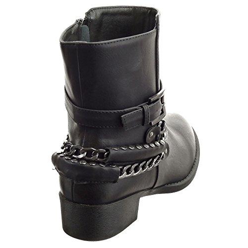 Sopily - Chaussure Mode Bottine Cavalier mi-mollet femmes boucle Chaïnes Métallique Talon bloc 3.5 CM - Intérieur fourrure synthétique - fourrée - Noir