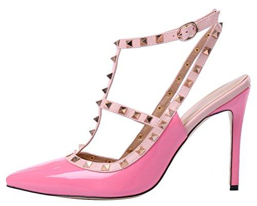 Oversize spangen Avec Candy Pfirsichrot Chaussures En T Lackleder Boucle Couleurs Monicoco De Cuir Creux Rivets Verni Escarpins BSpqcffWH