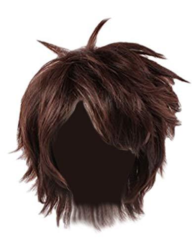 Angelaicos Men's Anime Party Halloween Costume Cosplay Wigs Short Brown]()