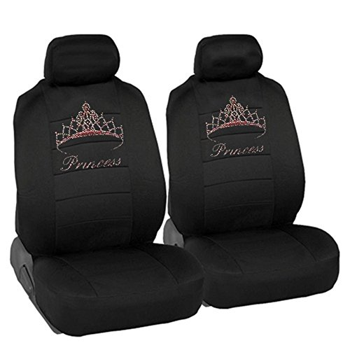 (CarsCover Pink Princess Crown Crystal Diamond Bling Rhinestone Black Car SUV Truck Low Back Seat Covers)