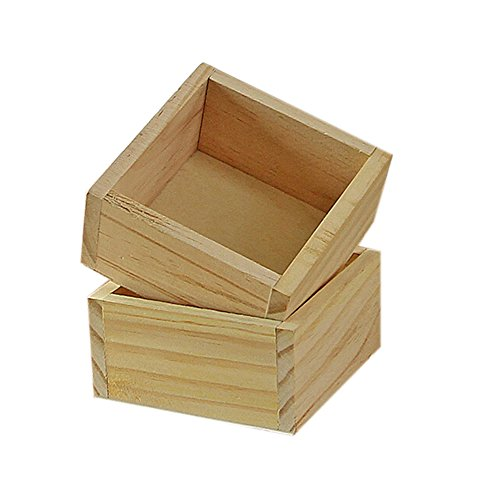Qinlee Wooden desktop storage box Mini Wood Craft Box Unfinished, Hinged Lid and Magnetic Closure - Painted Unfinished Table