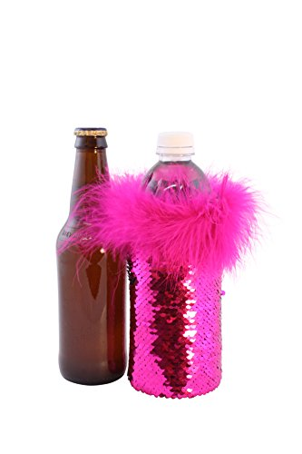 Pink Reversible Carrier - Sequin Beer Bottle Sleeves by Tipsy Totes | Cute Beer Bottle Coolers | Beer Water Coolies for the Beach, BBQs, Bachelorette Parties, Birthdays| Mermaid Sequin Beer Cooler | Fancy Beer Covers (Pink)