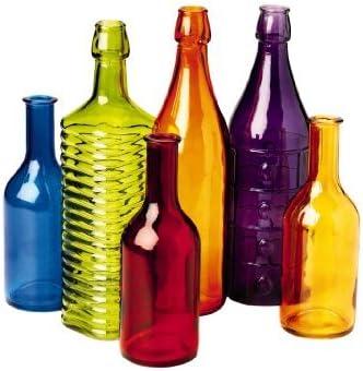 Set of 6 Colored Bottle Tree Bottles for Outdoor Garden Decor