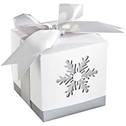 "Zimo Wedding Candy Boxes""Winter Dreams"" White Laser-Cut Snowflake Wedding Favors Gifts,Pack of 12(6 * 6 * 6 cm)"