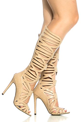 DIAMOND FAUX LEATHER MATERIAL BACK ZIPPER MULTI STRAP LOOK GLADIATOR INSPIDIAMOND KNEE HIGH HEEL BOOTS 85 nude