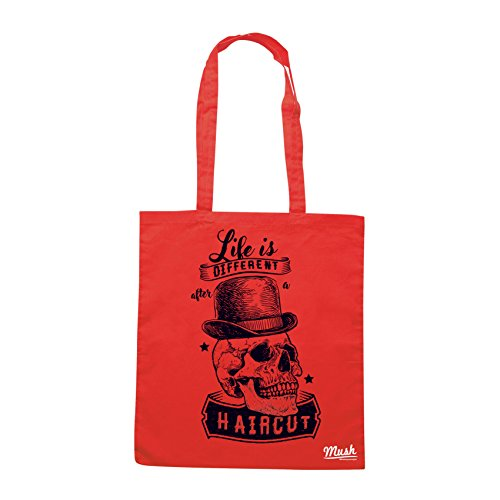 Borsa LIFE IS DIFFERENT AFTER A HAIRCUT- VINTAGE SKULL BARBER - Rossa - MUSH by Mush Dress Your Style
