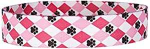 Casual Canine Nylon Pooch Pattern Dog Collar, 14 to 20-Inch, Pink Argyle