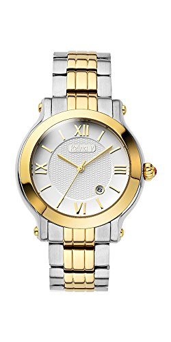 (Reina V Women's 23K Gold Plated Two Tone Stainless Steel Wrist Watch With Date)
