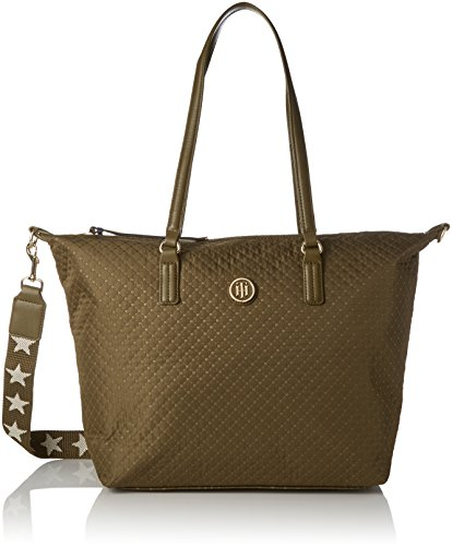 Tommy Hilfiger Poppy Tote Quilted Argyle, Borsa a Tracolla Donna, 14x32x47 cm (W x H x L) Marrone (Quilted Dark Olive)
