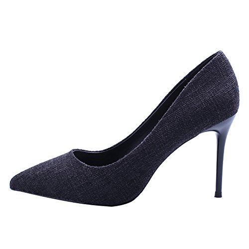 Shallow 35 Elegant Shoes Fashion All Work Denim Spring With Fine MDRW Match Shoes Mouth 9Cm Heels Nightclub Black High A Leisure Lady Commuter ZYqRn5Bw