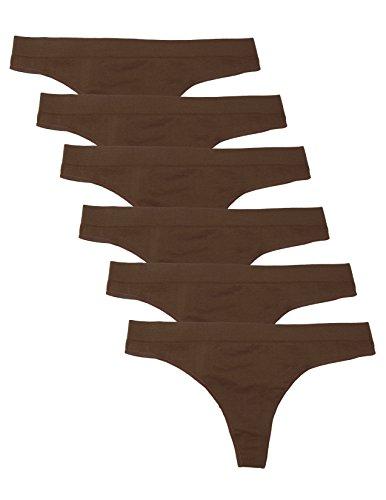 Kalon 6 Pack Women's Nylon Spandex Thong Underwear (Small, 6PK - Spandex Thong