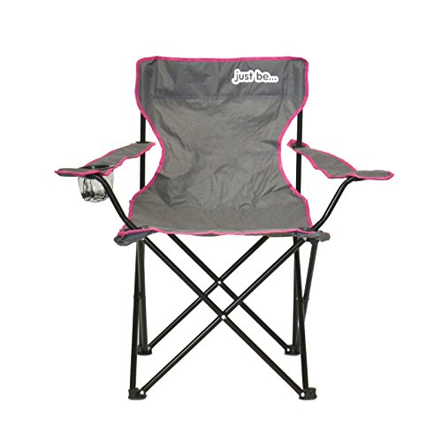 just be. Folding Camping Chair - Grey with Pink Trim