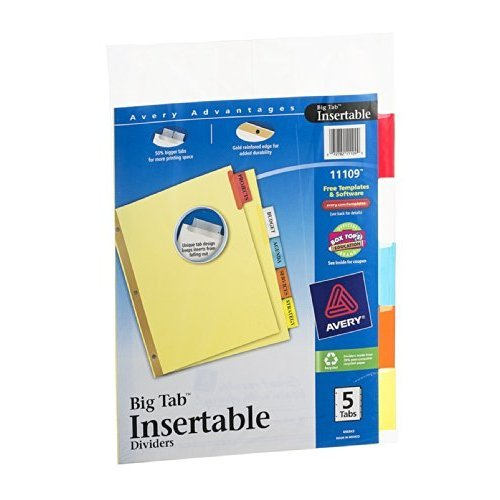 Paper Worksaver Big Tab (Avery 11109 5 Tab Assorted Colors Worksaver® Big Tab Paper Dividers)