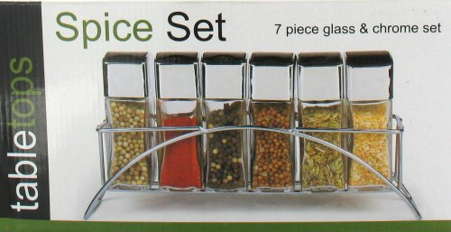 Chrome Black Kitchen Spice Rack Jar Set Table Top Counter