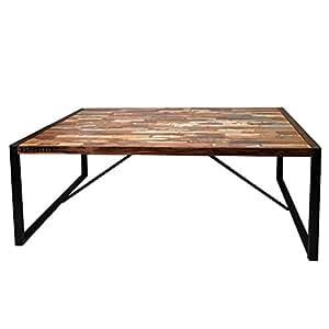 Indhouse mesa de comedor en forja y madera reciclada for Mesas de comedor amazon