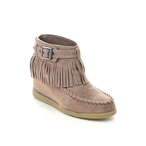 BAMBOO TOBERY-03 Women's Moccasin Fringe Hidden Wedge Back - Moccasin Wedges