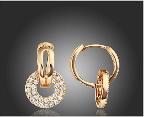 18K Yellow or Rose Gold Plated Circle Cluster Paved Zircon CZ White Stone Charm Huggies Hoop Earrings Jewelry for Women Girls (Rose Gold Plated)