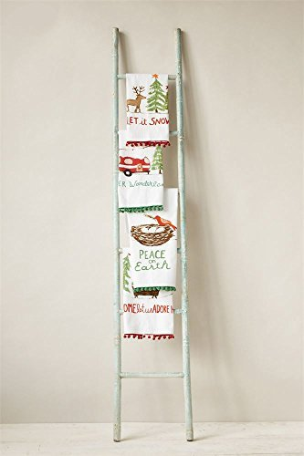 Winter Wonderland Tea Towel Set with Pom Pom Accents 28''L x 18''W (Set of 4) Vintage Trailer by Creative Co-op