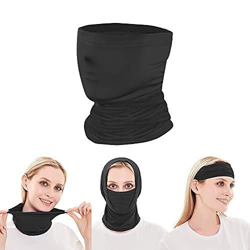 Face Coverings Neck Gaiter, Multifunctional Face Bandana Headwear Balaclavas Face Mask Windproof Scarf Sunscreen Mask Snood Breathable Magic Tube Neckwarmer for Dust,Wind,Outdoor Men Women (BLACK)