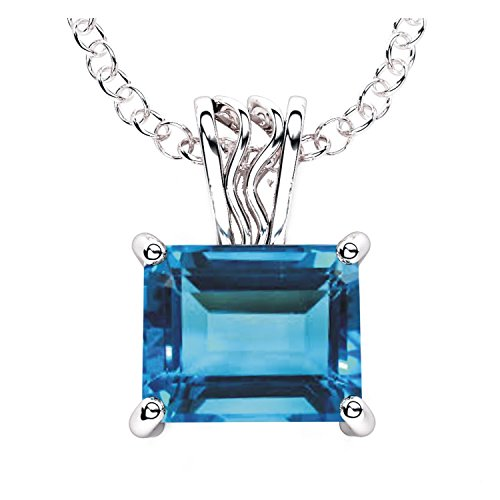 Solid Sterling Silver 3 Carat Baguette Sky Blue Topaz Necklace with 17.5 Inch Anchor Chain for Women, High Polished Pendant Necklace