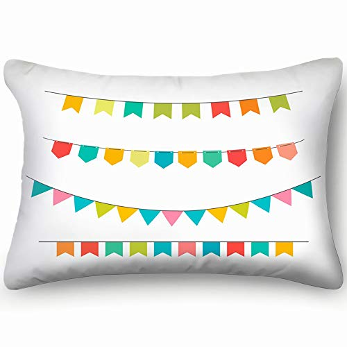 Celebrate Party Flags Confetti Miscellaneous Anniversary Miscellaneous Home Decor Wedding Gift Engagement Present Housewarming Gift Cushion Cover 20x30 inch