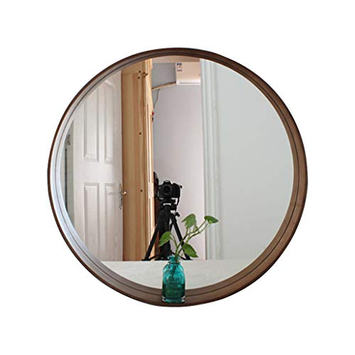 Mirror, for Family Hotel with 500500mm Simple Elegant Large Round Wooden Wall-Mounted Vanity Mirrors (Color : Brown) ()