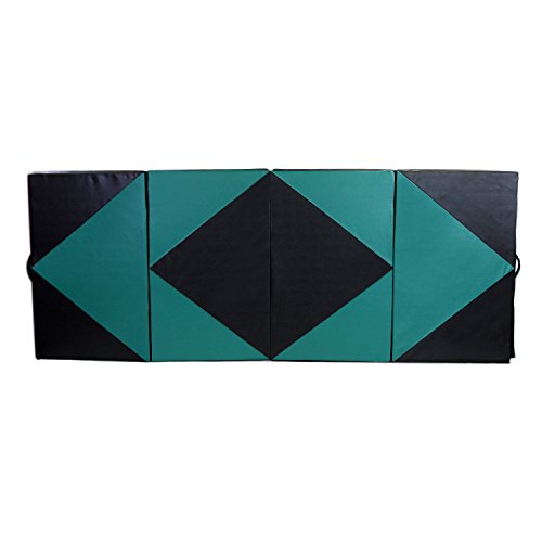 "HYD-PARTS Gymnastic mat for Kids Tumbling, (Green&Black, 4'x6'x2"")"