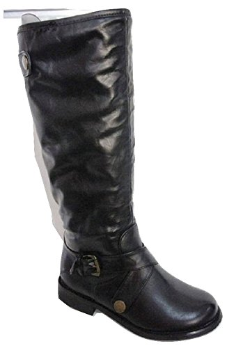 Jet Black Faux Fur Lined Buckle Detail Mid Calf Boot - UK 3 [Apparel] Black 8S6SIswh8p