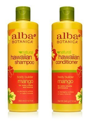 Alba Botanica Naturals Hawaiian Hair Wash Moisturizing Mango and Hawaiian Hair Conditioner Mango Moisturizing Bundle With Pineapple Extract, Quinoa Seed, Mango and Ginger Extract, 12 fl. oz. Each